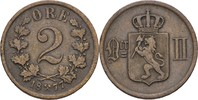 2 Öre 1877 Norwegen Oscar II., 1872-1907 ss  8,00 EUR  zzgl. 3,00 EUR Versand