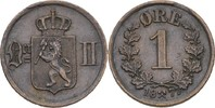 1 Öre 1877 Norwegen Oscar II., 1872-1907 ss+ kl. Randfehler  25,00 EUR  zzgl. 3,00 EUR Versand