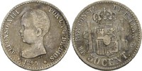 50 Centimos 1889 MPM Spanien Alfonso XIII., 1886-1931 fast ss/ss, Kratzer  17,00 EUR  +  3,00 EUR shipping