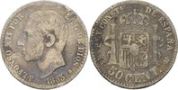 50 Centimos 1885 (86) MSM Spanien Alfonso XII., 1874-85 fast ss  8,00 EUR  +  3,00 EUR shipping