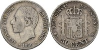 50 Centimos 1880 MSM Spanien Alfonso XII., 1874-85 ss/fast ss  8,00 EUR  +  3,00 EUR shipping