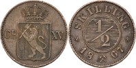 1/2 Skilling 1867 Norwegen Carl XV. Adolf, 1859-72 ss  20,00 EUR  +  3,00 EUR shipping