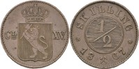 1/2 Skilling 1867 Norwegen Carl XV. Adolf, 1859-72 vz  40,00 EUR  zzgl. 3,00 EUR Versand