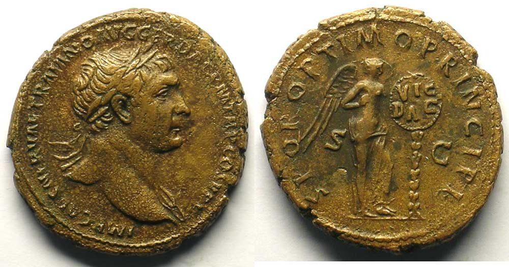 104-110 n. Chr. Roman empire R/ SPQR OPTIMO PRINCIPI SC  (Rome 104-110)  TB+/TTB F+ / VF