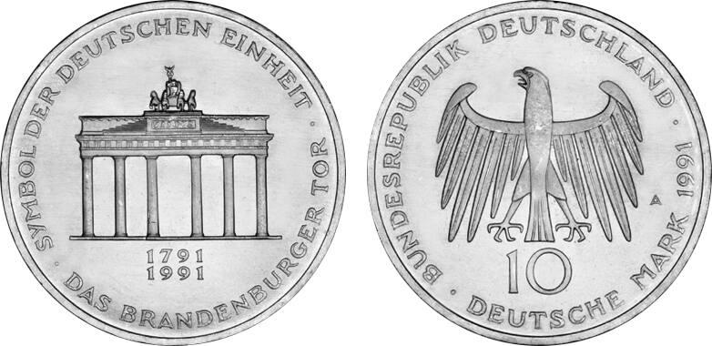 10 Dm Brandenburger Tor 200 Jahre Brandenburger Tor 1991 Silber unc