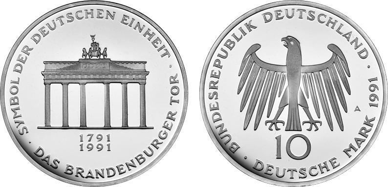 10 Dm Brandenburger Tor 200 Jahre Brandenburger Tor 1991 Silber Pp Mü