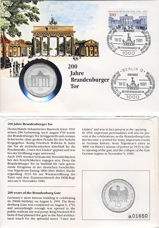Numisbrief 200 Jahre Brandenburger Tor 18 Dezember 1991 Sonderstempel