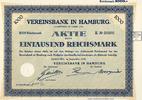 Aktie   VEREINSBANK IN HAMBURG - Vereinsbank in Hamburg Inhaber- über 1... 9,00 EUR  zzgl. 3,90 EUR Versand