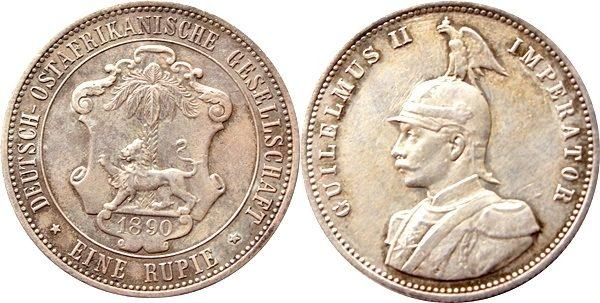 1 Rupie 1890 Ostafrika Deutsch-ostafrika Silber
