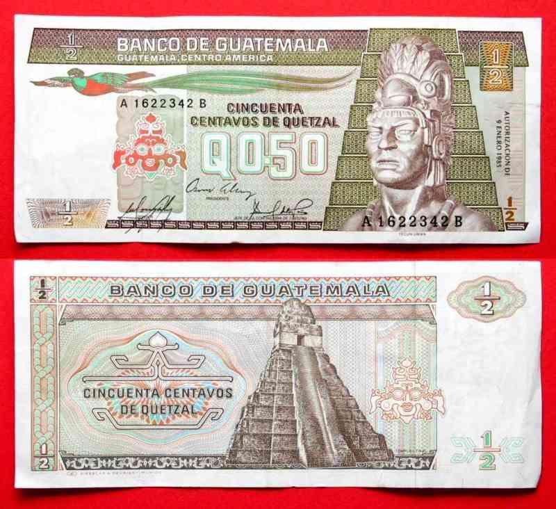 1985 Guatemala GUATEMALA 1/2 Quetzal 9.1.1985 - XF # 31739 EF