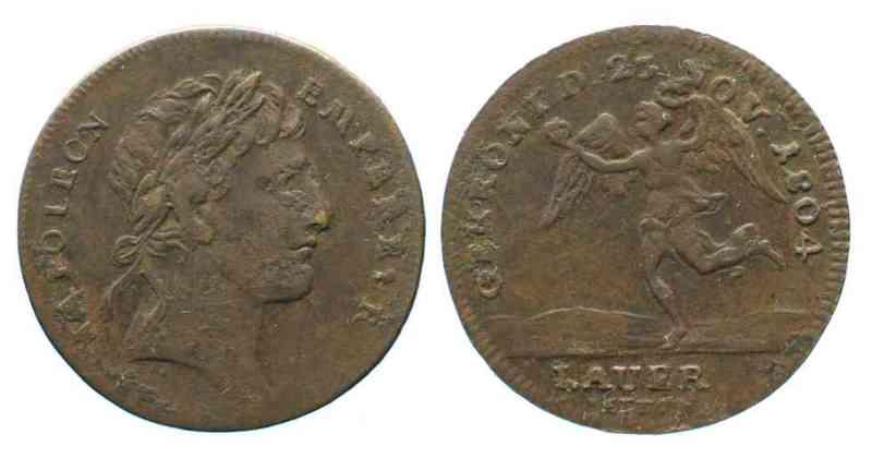 1804 Nürnberger Rechenpfennige NAPOLEON Coronation token 1804 by Lauer brass VF # 66133 VF