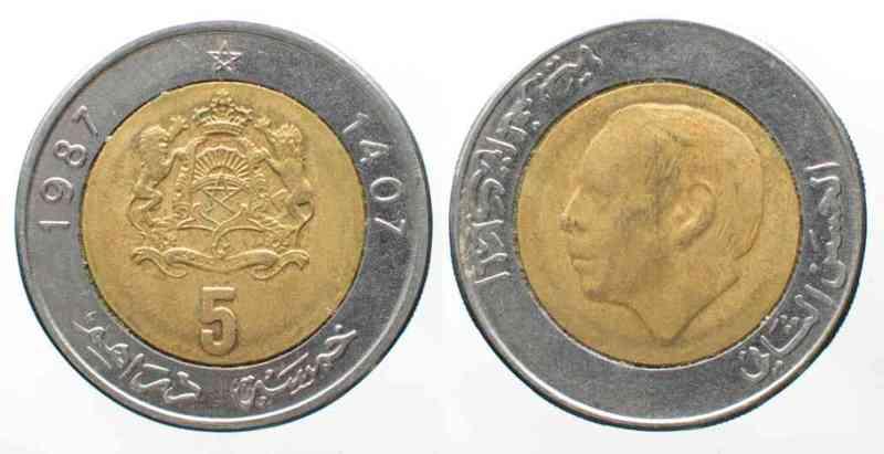 1987 Marokko MAROKKO 5 Dirhams 1987 HASAN II. Bimetall # 71179 f.vz