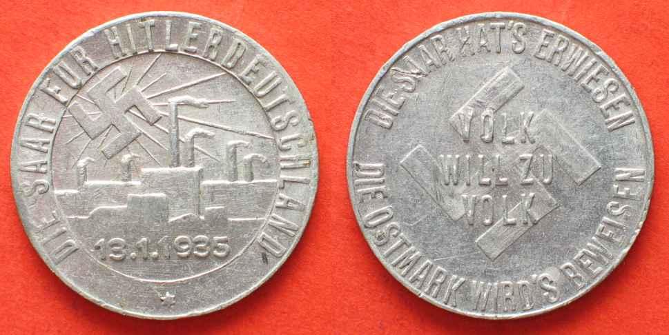 1935 Deutschland - Marken und Zeichen DIE SAAR HAT'S ERWIESEN - DIE OSTMARK WIRD'S BEWEISEN 13.1.1935 Alu 23mm # 87660 vz