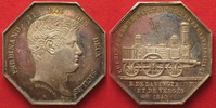 Italien - Sizilien  FERDINANDO II di BORBONE Medaglia 1840 Locomotiva BENOIST argento RRR! # 90788