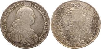 1/2 Taler 1755  HA Haus Habsburg Franz I. ...