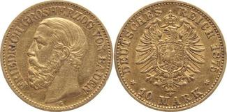 10 Mark Gold 1875  G Baden Friedrich I. 18...