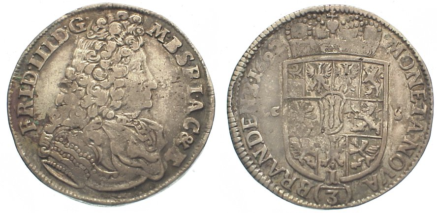 Friedrich Iii 1688-1701 Brandenburg-preußen 1/3 Taler 1692
