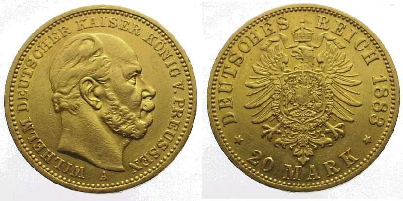 Wilhelm I 1861-1888 Preußen 20 Mark Gold 1883 A