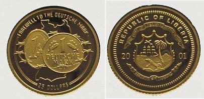 Liberia 25 Dollars Gold 2001