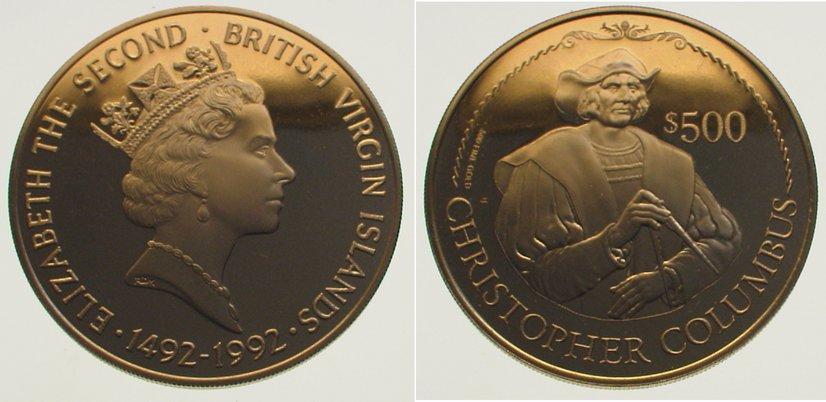 Elizabeth Ii seit 1952 British Virgin Islands 500 Dollars Gold