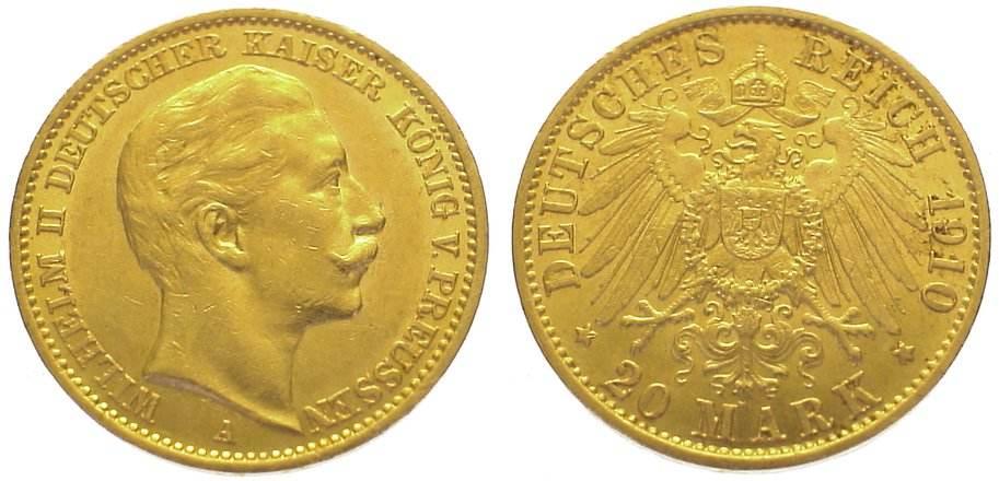 Wilhelm Ii 1888-1918 Preußen 20 Mark Gold 1910 A