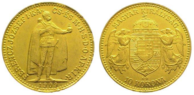 Franz Josef I 1848-1916 Ungarn 10 Korona Gold 1909