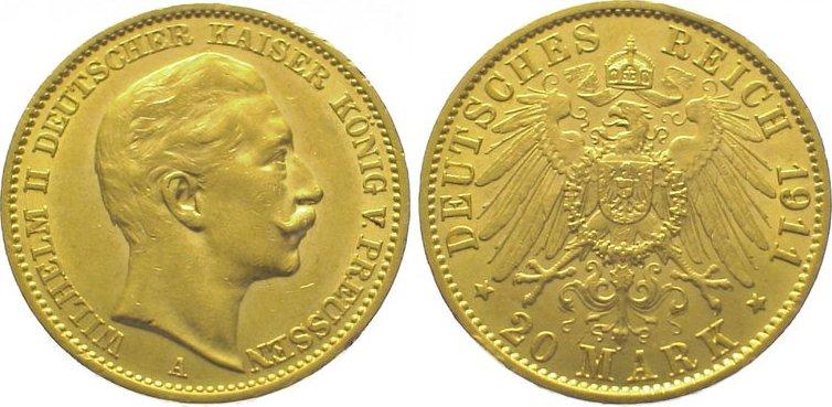Wilhelm Ii 1888-1918 Preußen 20 Mark Gold 1911 A