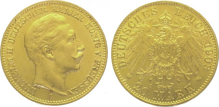 Wilhelm Ii 1888-1918 Preußen 20 Mark Gold 1903 A