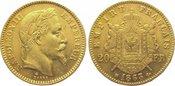 20 Francs Gold 1863  BB Frankreich Napoleo...