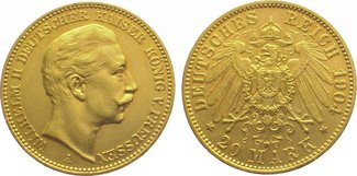 20 Mark  Gold 1904 A Preußen Wilhelm II. 1...