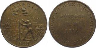 Cu Cent 1833 Liberia American Colonization...