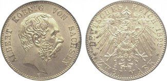 2 Mark 1899  E Sachsen Albert 1873-1902. F...