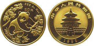 50 Yuan Gold 1992 China Republik. Polierte...