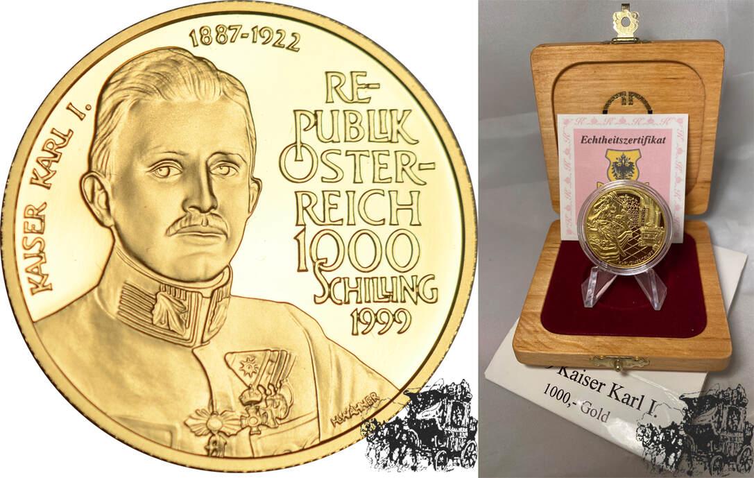 1000 Schilling 1999 Karl I Österreich Gold