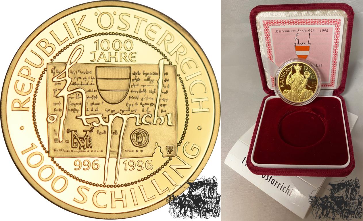 1000 Schilling 1996 Ostarrichi Österreich Gold