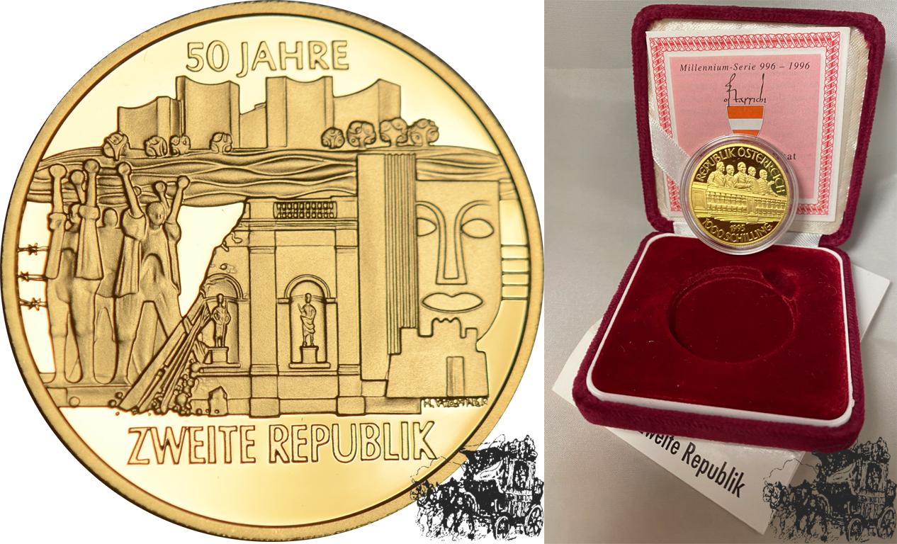 1000 Schilling 1995 2 Republik Österreich Gold