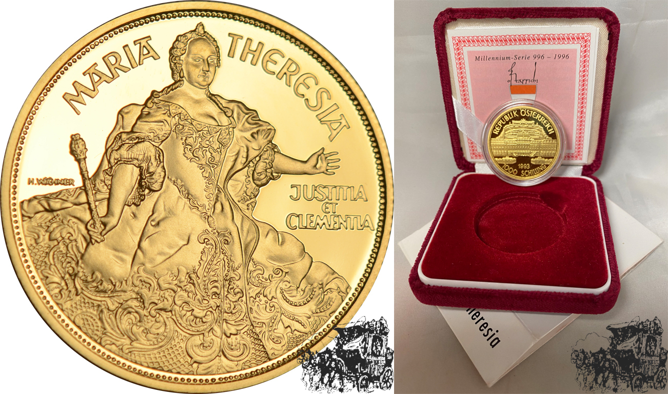 1000 Schilling 1993 Maria Theresia Österreich Gold