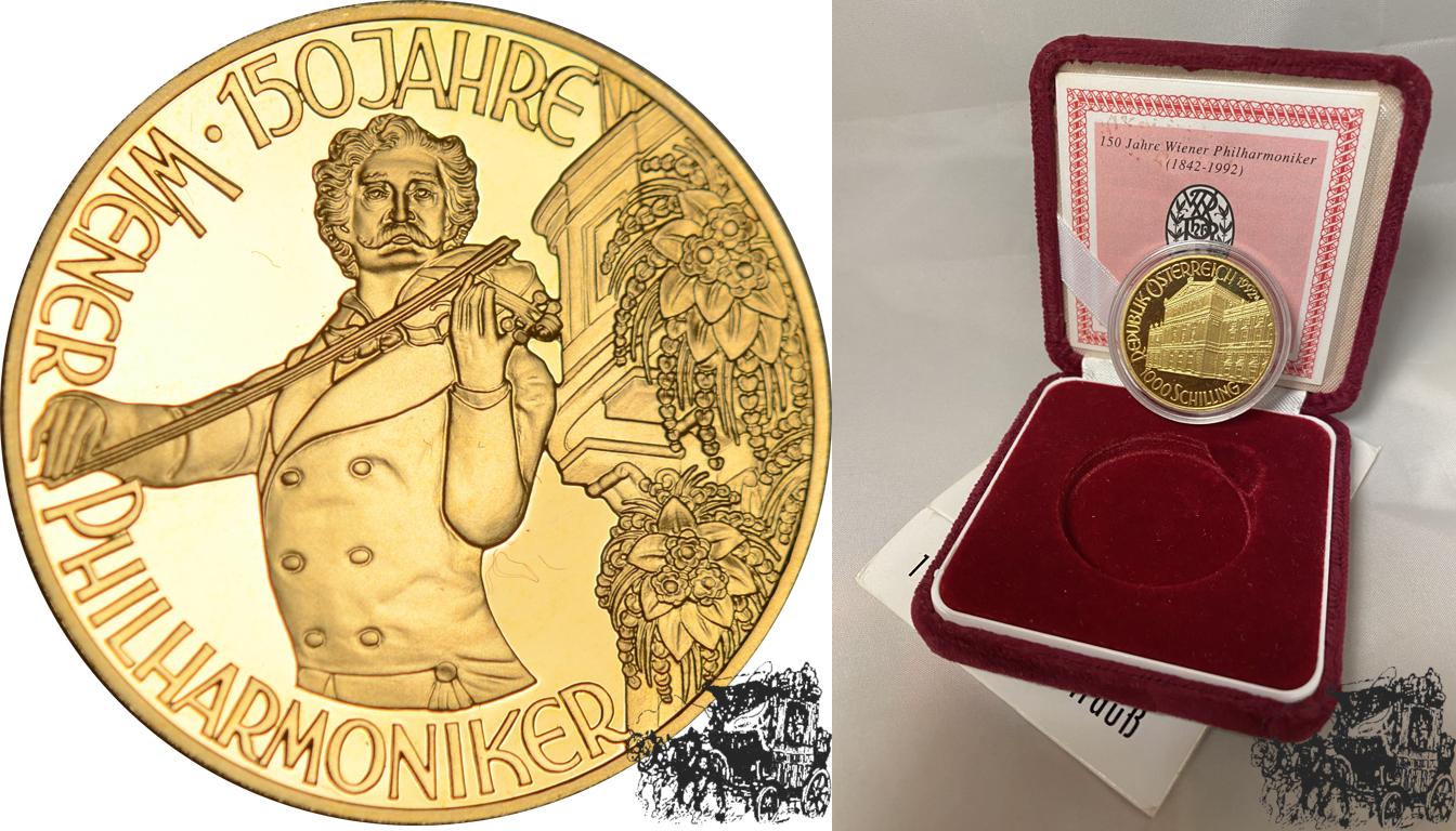 1000 Schilling 1992 Johann Strauss Österreich Gold