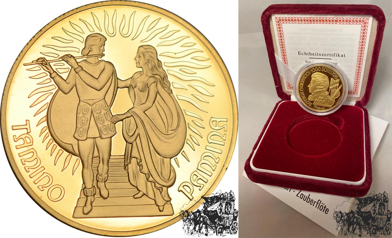 1000 Schilling 1991 Zauberflöte Österreich Gold