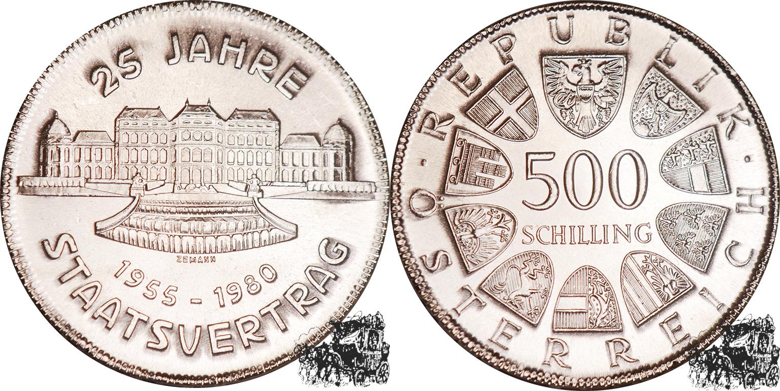 500 Schilling 1980 Staatsvertrag Österreich Silber
