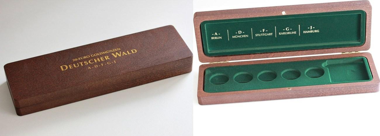 Holzschatulle 20-euro Goldmünzen quot;deutscher Waldquot; Prägestätte