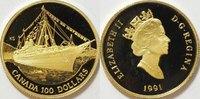 100 $ Gold 1991 Kanada / Canada S.S. Empress of India PP proof  345,00 EUR kostenloser Versand