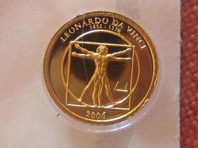 Kleinste Goldmünzen Leonardo da Vinci Mongolei 500 Tugrik 2006