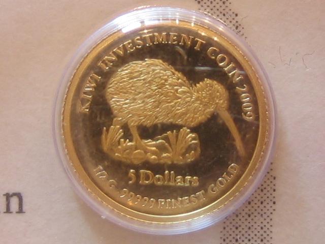 Kleinste Goldmünzen Investment Kiwi Nauru 5 Dollars 2009