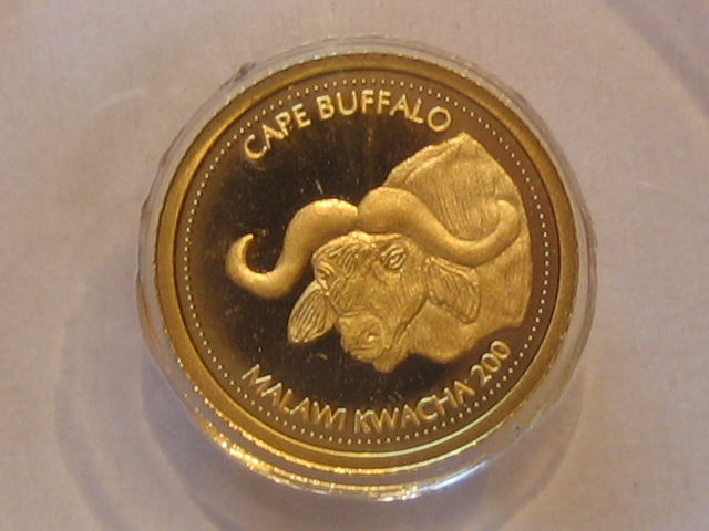 Kleinste Goldmünzen Cape Buffalo Malawi 200 Kwacha 2010