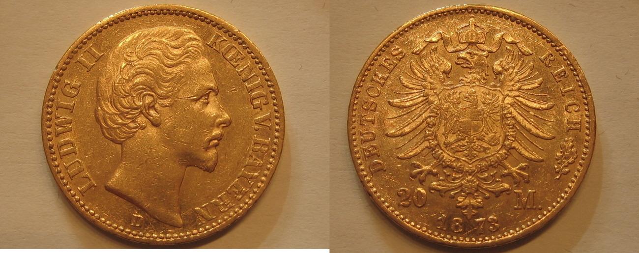 Bayern Ludwig Ii Gold 20 Mark 1873 D