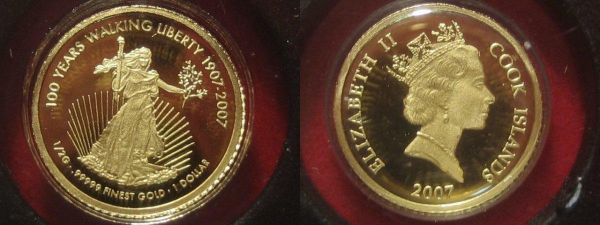 Kleinste Goldmünzen der Welt Liberty Cook Islands 1 Dollar 2007