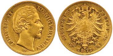 Ludwig Ii 1864-1886 Bayern 20 Mark Gold 1873 D