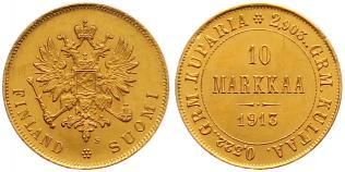 Nikolaus Ii von Russland 1894-1917 Finnland 10 Markkaa Gold 1913 S