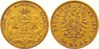 20 Mark Gold 1876  J Hamburg  Sehr schön